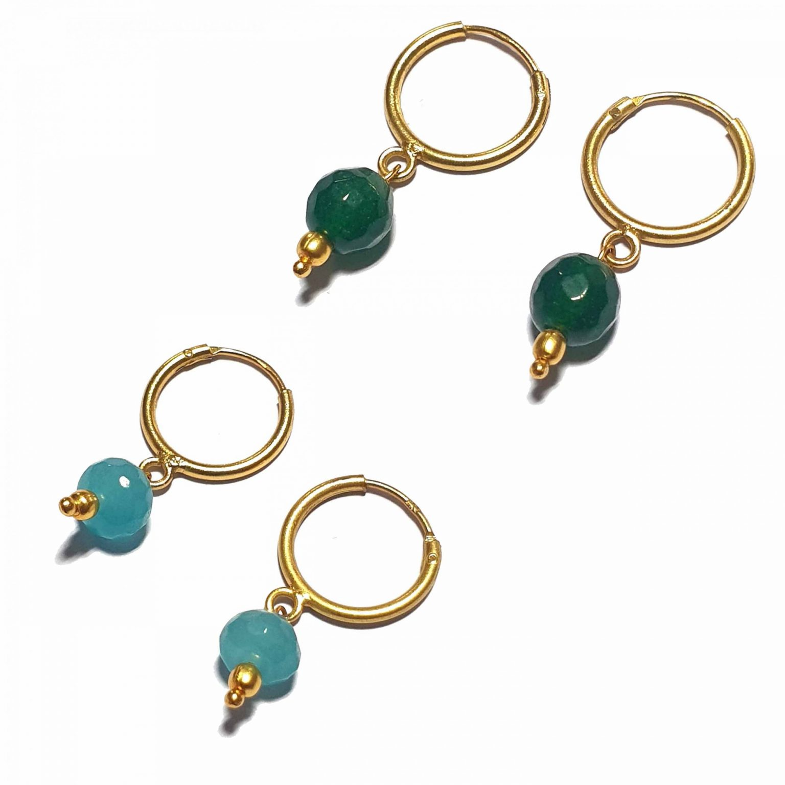 Silver Bali Set of 2 Combo with Blue Chalcedony and Dark Green Chalcedony Gold Polished Bali in Pure Silver 925 | Earrings for Women