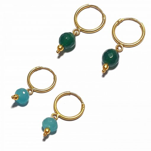 Silver Bali Set of 2 Combo with Blue Chalcedony and Dark Green Chalcedony Gold Polished Bali in Pure Silver 925   Earrings for Women