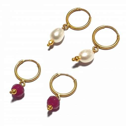 Silver Bali Set of 2 Combo with Pink Chalcedony and White Pearl Gold Polished Bali in Pure Silver 925 | Earrings for Women