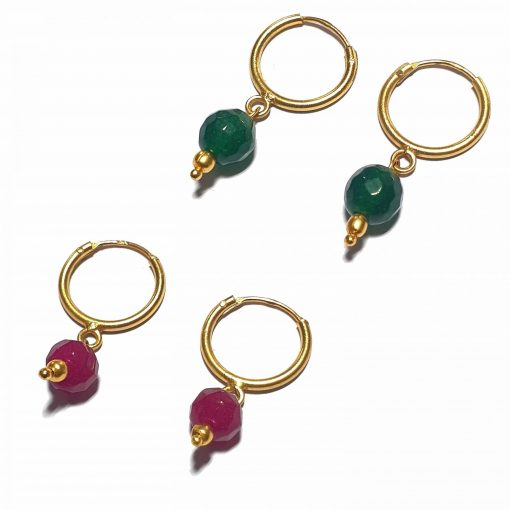 Silver Bali Set of 2 Combo with Pink Chalcedony and Dark Green Chalcedony Gold Polished Bali in Pure Silver 925 | Earrings for Women