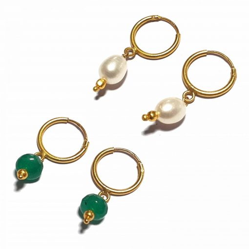 Silver Bali Set of 2 Combo with Green Chalcedony and White Pearl Gold Polished Bali in Pure Silver 925 | Earrings for Women