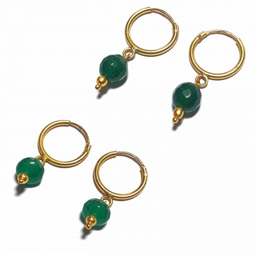 Silver Bali Set of 2 Combo with Green Chalcedony and Dark Green Chalcedony Gold Polished Bali in Pure Silver 925 | Earrings for Women
