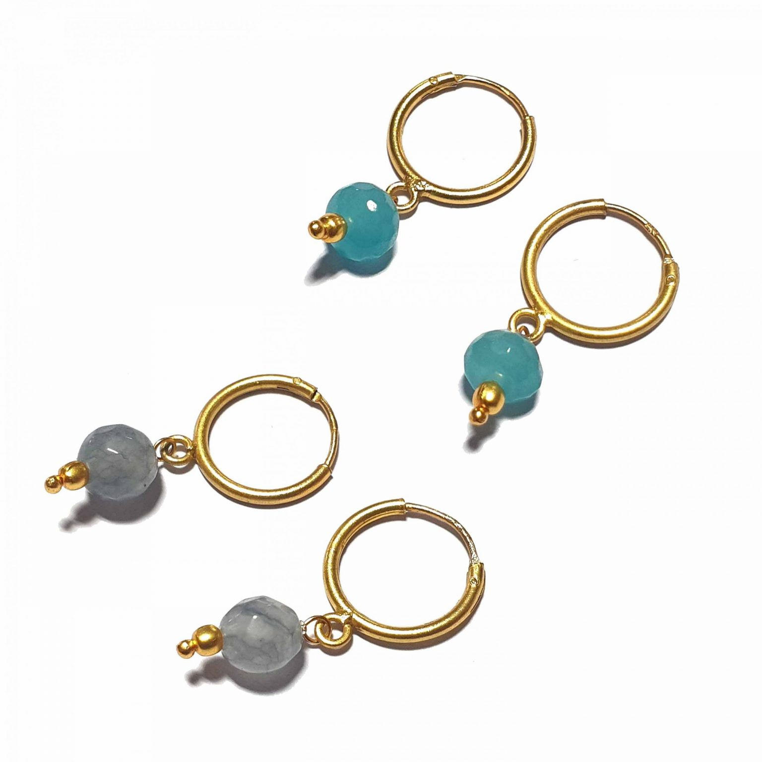Silver Bali Set of 2 Combo with Grey Chalcedony and Blue Chalcedony Gold Polished Bali in Pure Silver 925   Earrings for Women