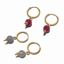 Silver Bali Set of 2 Combo with Grey Chalcedony and Pink Chalcedony Gold Polished Bali in Pure Silver 925 | Earrings for Women