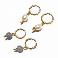 Silver Bali Set of 2 Combo with Grey Chalcedony and White Pearl Gold Polished Bali in Pure Silver 925 | Earrings for Women