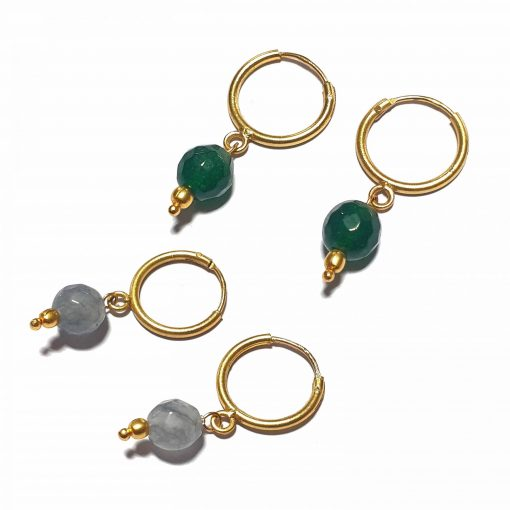 Silver Bali Set of 2 Combo with Grey Chalcedony and Dark Green Chalcedony Gold Polished Bali in Pure Silver 925 | Earrings for Women