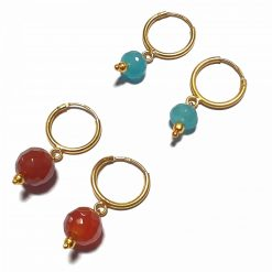 Silver Bali Set of 2 Combo with Red Chalcedony and Blue Chalcedony Gold Polished Bali in Pure Silver 925 | Earrings for Women