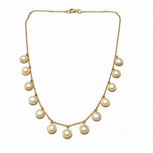 Sterling Silver White Pearl Emegre Necklace Contemporary Silver Necklace Gold Jewelry Silver Jewelry Gold Necklaces Pack Of 1 Necklace Ideal for Women::Girls