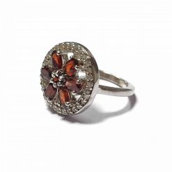 Sterling Silver Red Garnet Aalia Ring Contemporary Silver Rings Aalia Ring Red Ring Rings for Women Pack Of 1 Ring Ideal for Women::Girls