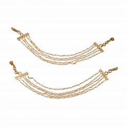 Sterling Silver White Pearl Gauri Hair Chain Gold Plated