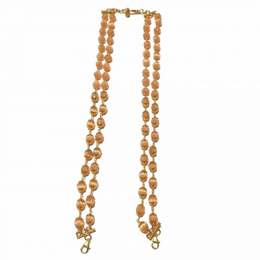Sterling Silver Peach Quartz Melon Back Chain Necklace for Pendants Necklace Contemporary Backchain for Pendant Silver Back Chain Back Chain Silver Gold Backchain Pack Of 1 Necklace and 1 Pair Earring Ideal for Women::Girls